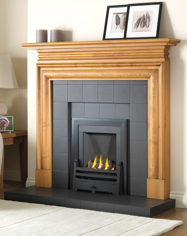 Recessed hearth and back