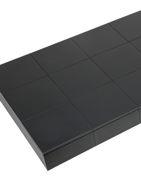 Black tile hearth close
